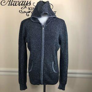 Peck & Peck sparkles knit zipper hooded jacket M